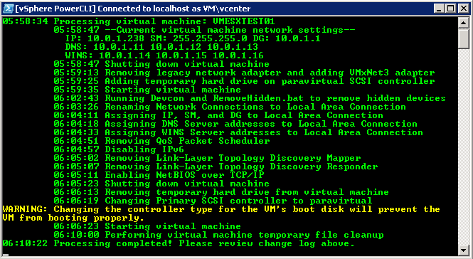 Automated Migration to VMxNet3 Network Adapters and